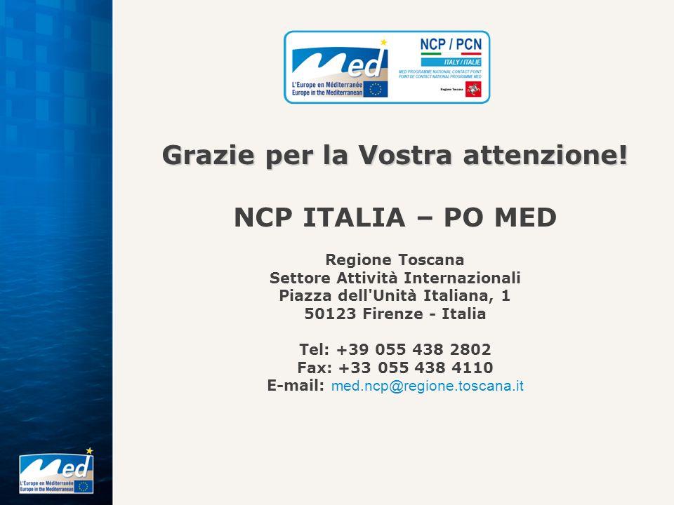 Grazie per la Vostra attenzione! NCP ITALIA – PO MED