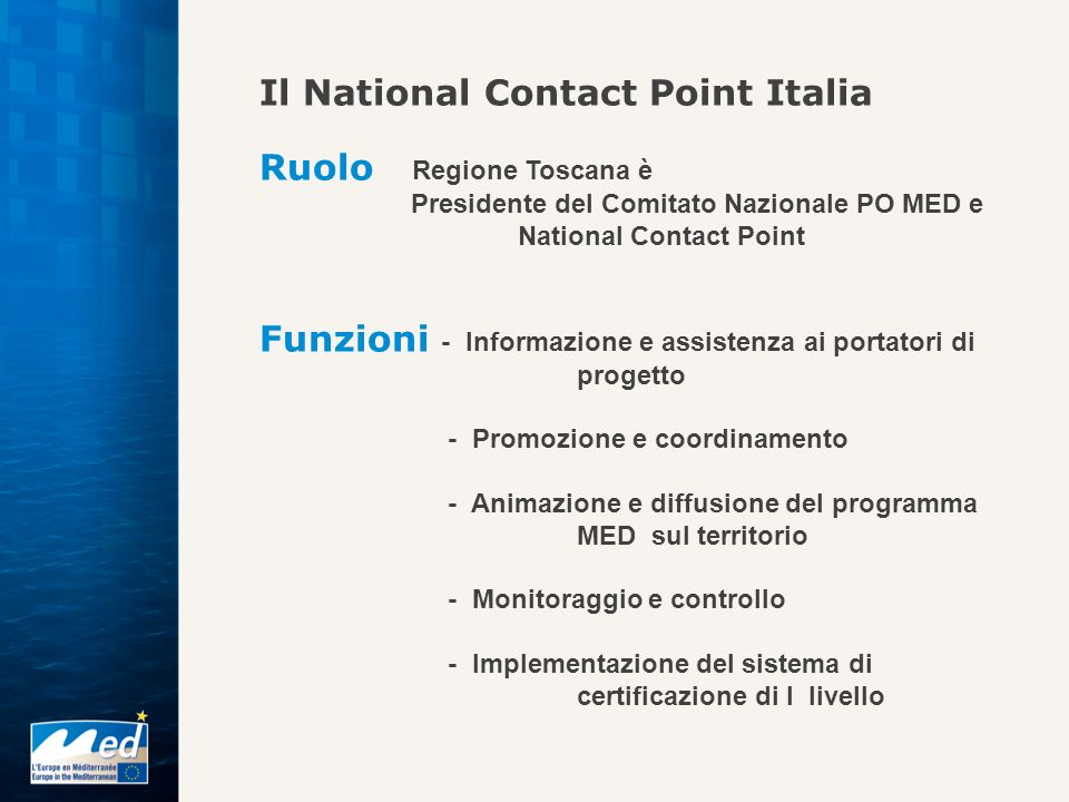 Il National Contact Point Italia Ruolo Regione Toscana è