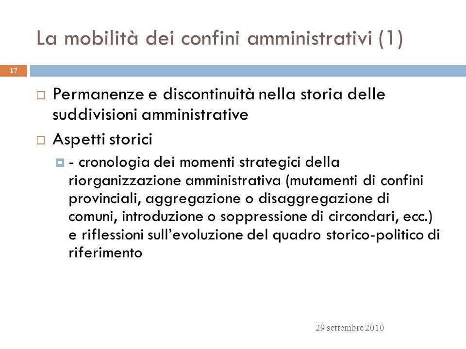 La mobilità dei confini amministrativi (1)
