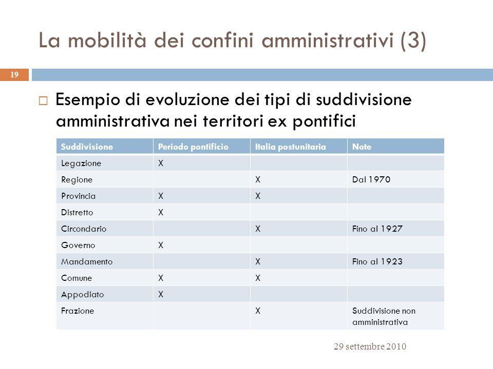 La mobilità dei confini amministrativi (3)