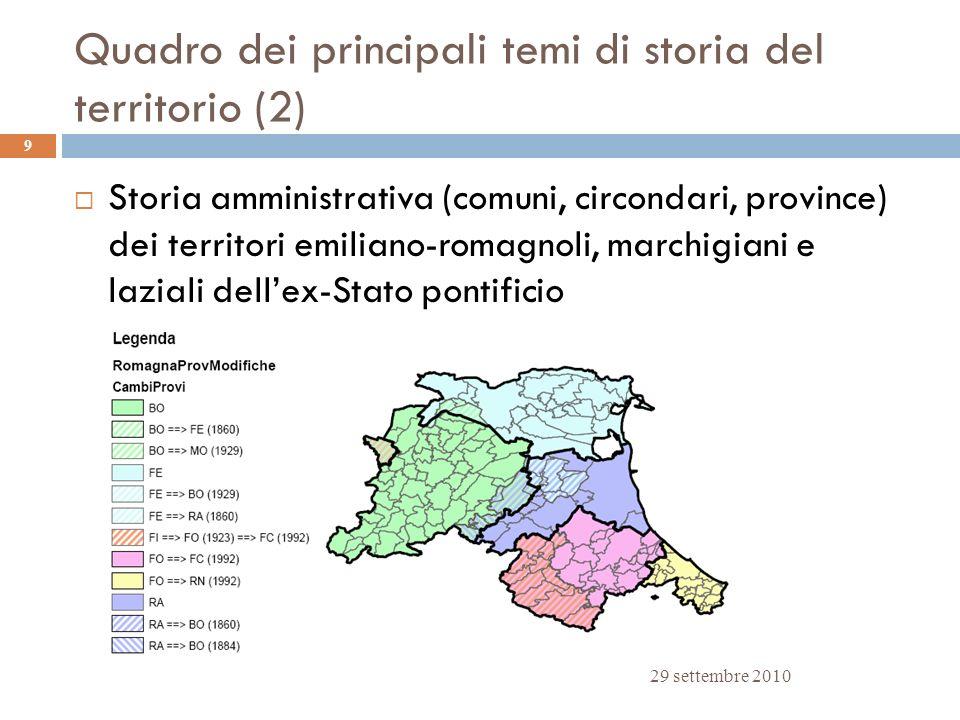 Quadro dei principali temi di storia del territorio (2)