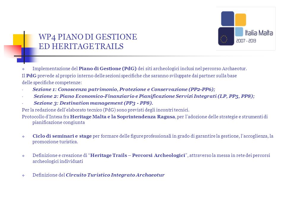 WP4 PIANO DI GESTIONE ED HERITAGE TRAILS