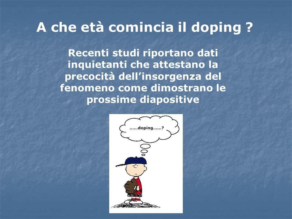 A che età comincia il doping