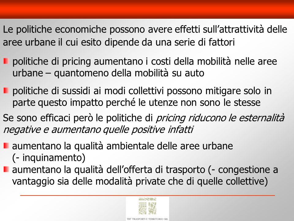 Le politiche economiche possono avere effetti sull'attrattività delle aree urbane il cui esito dipende da una serie di fattori
