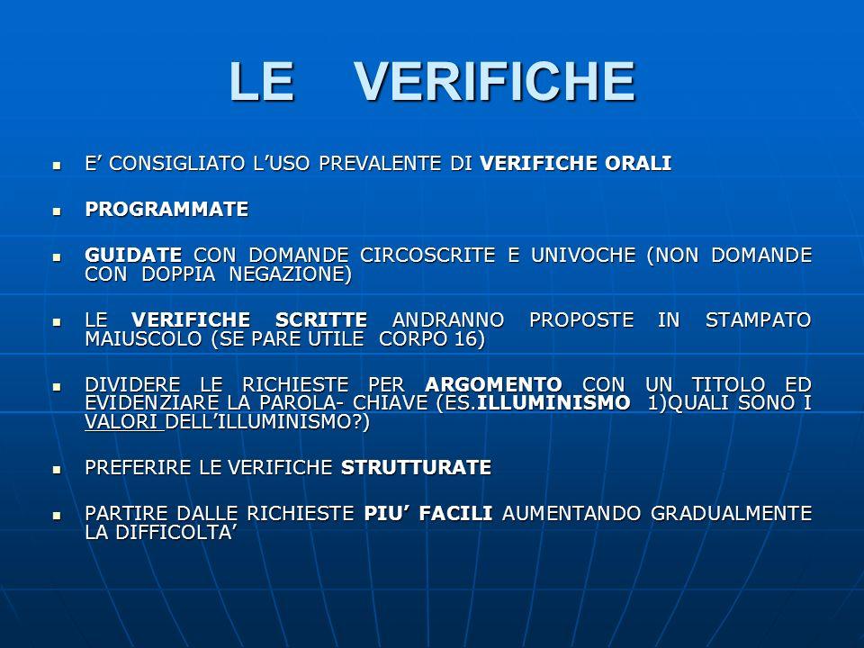 LE VERIFICHE E' CONSIGLIATO L'USO PREVALENTE DI VERIFICHE ORALI