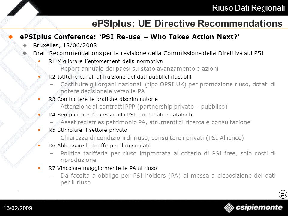 ePSIplus: UE Directive Recommendations