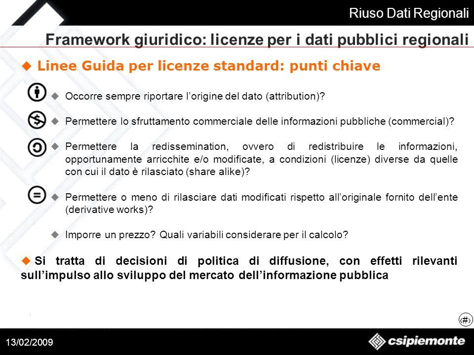 Framework giuridico: licenze per i dati pubblici regionali