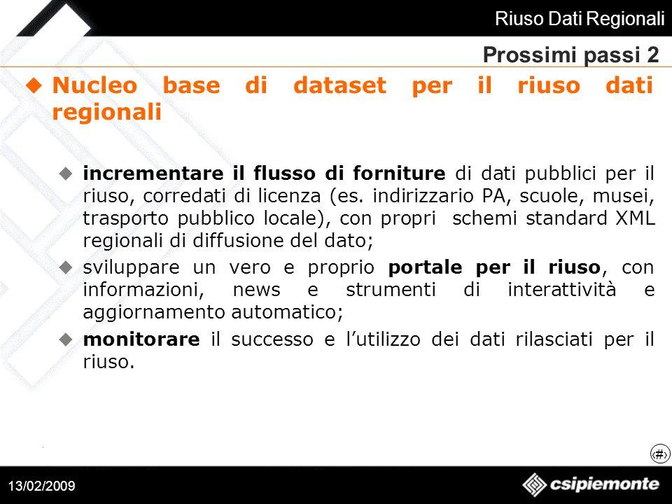 Nucleo base di dataset per il riuso dati regionali