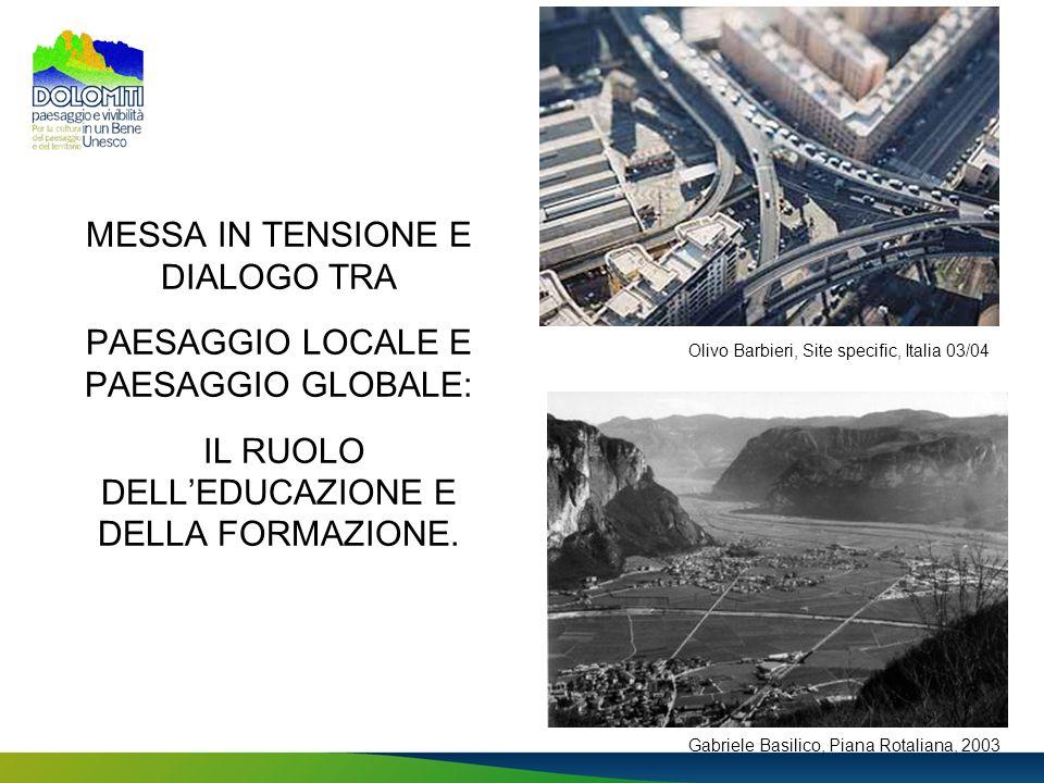 MESSA IN TENSIONE E DIALOGO TRA PAESAGGIO LOCALE E PAESAGGIO GLOBALE: IL RUOLO DELL'EDUCAZIONE E DELLA FORMAZIONE.