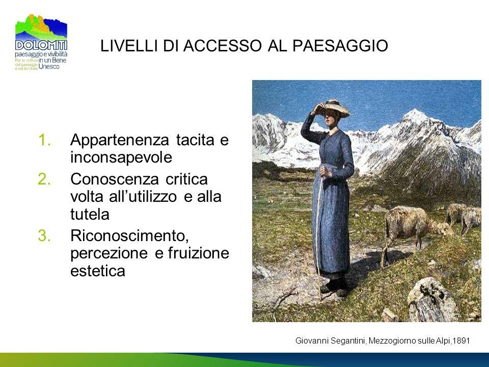 LIVELLI DI ACCESSO AL PAESAGGIO
