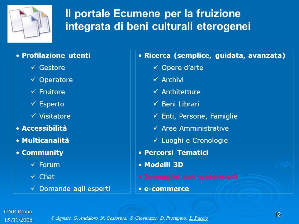 Il portale Ecumene per la fruizione integrata di beni culturali eterogenei