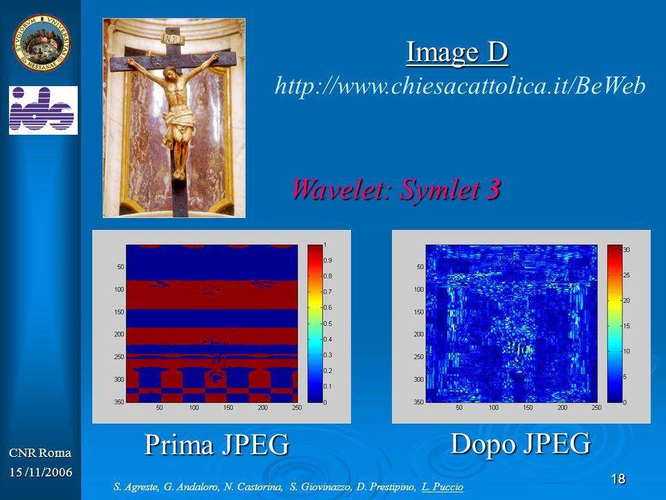 Image D Wavelet: Symlet 3 Prima JPEG Dopo JPEG