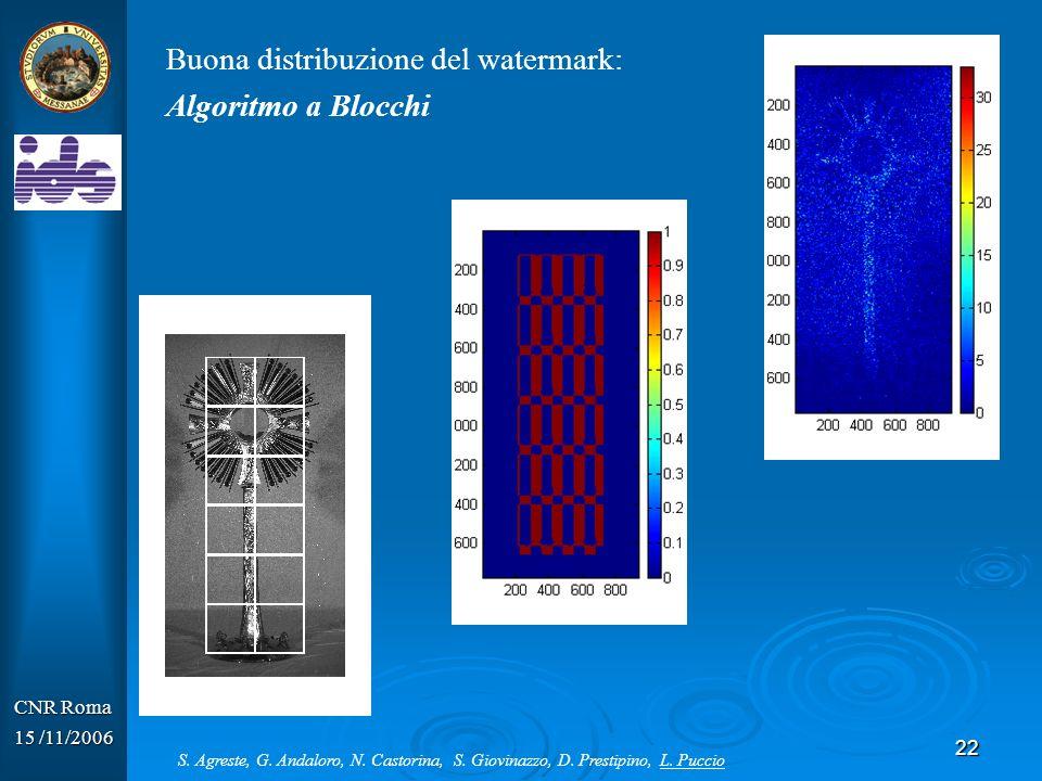 Buona distribuzione del watermark: Algoritmo a Blocchi
