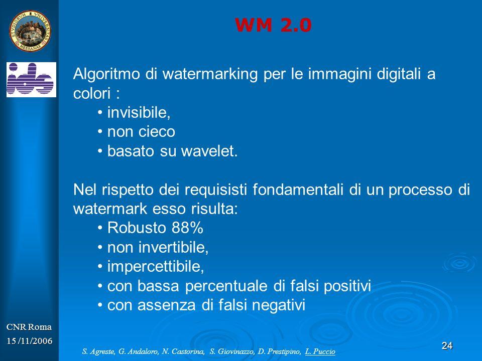 WM 2.0 Algoritmo di watermarking per le immagini digitali a colori :