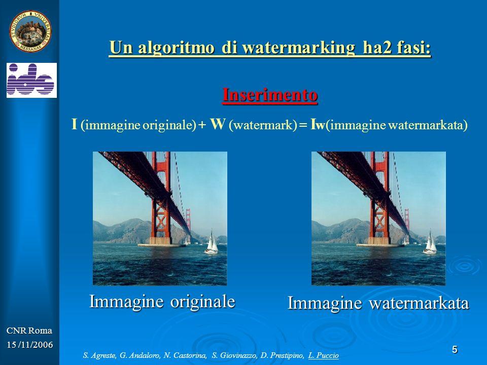 Un algoritmo di watermarking ha2 fasi:
