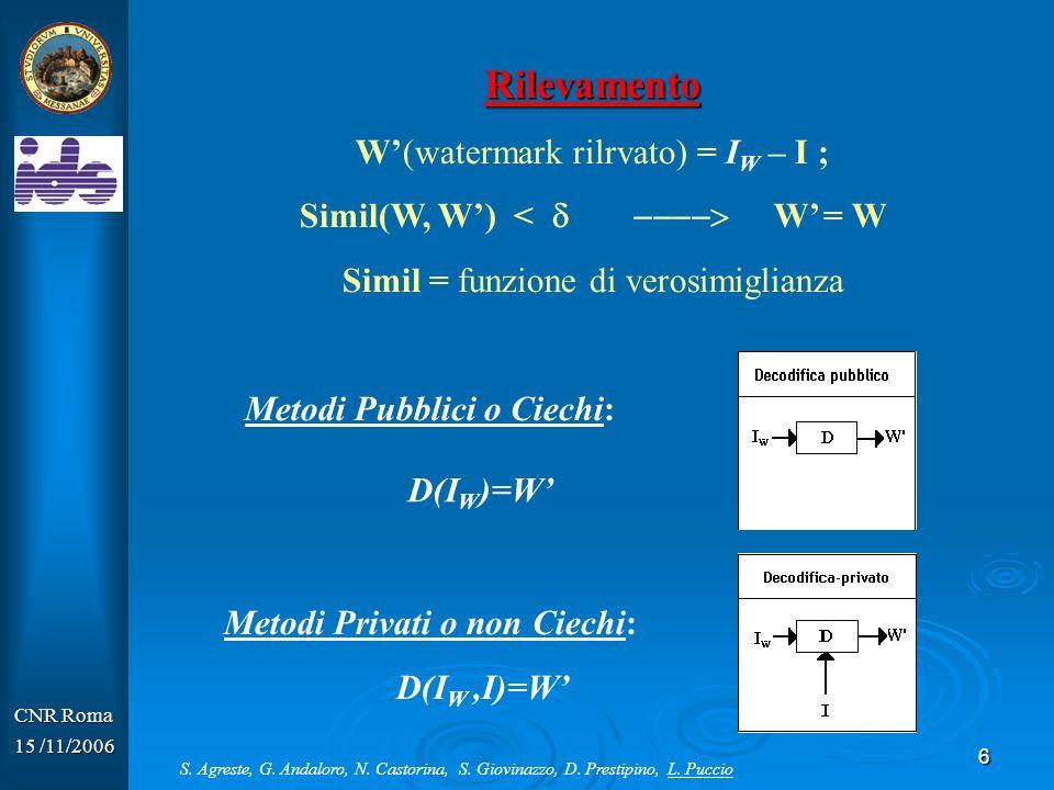 Rilevamento W'(watermark rilrvato) = IW – I ;