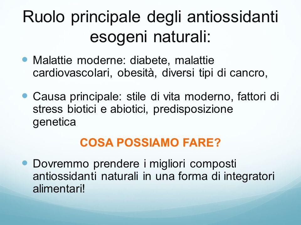 Ruolo principale degli antiossidanti esogeni naturali:
