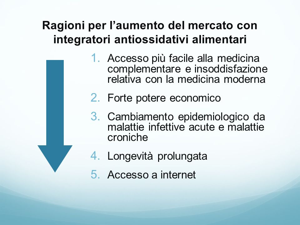 Ragioni per l'aumento del mercato con integratori antiossidativi alimentari