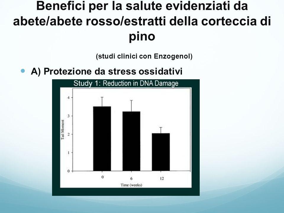 Benefici per la salute evidenziati da abete/abete rosso/estratti della corteccia di pino (studi clinici con Enzogenol)