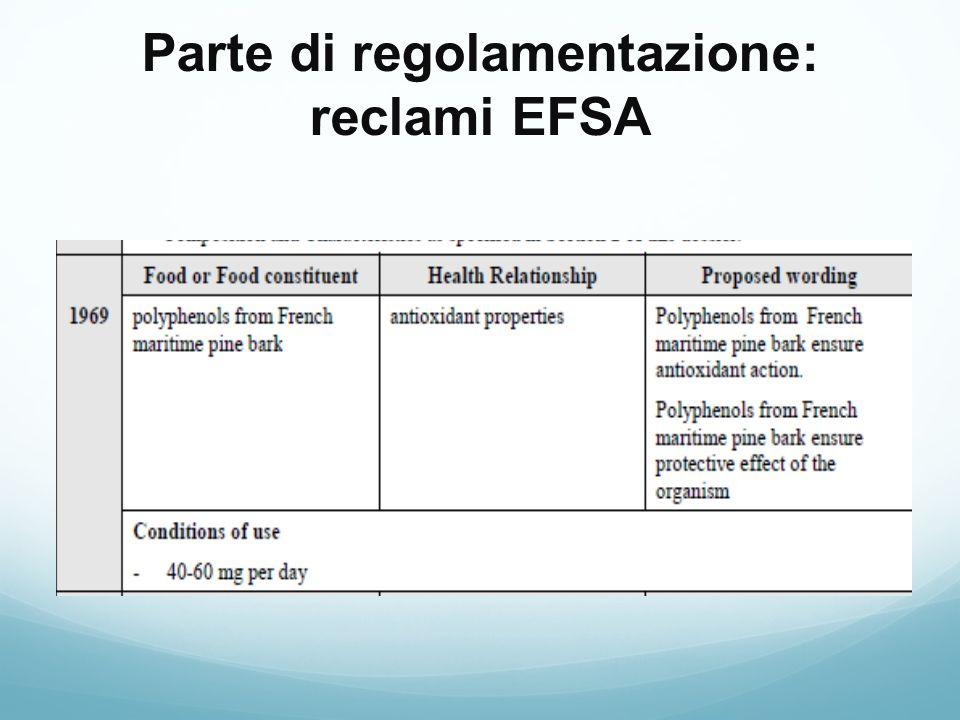 Parte di regolamentazione: reclami EFSA