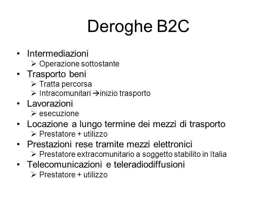 Deroghe B2C Intermediazioni Trasporto beni Lavorazioni