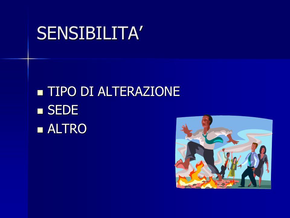 SENSIBILITA' TIPO DI ALTERAZIONE SEDE ALTRO