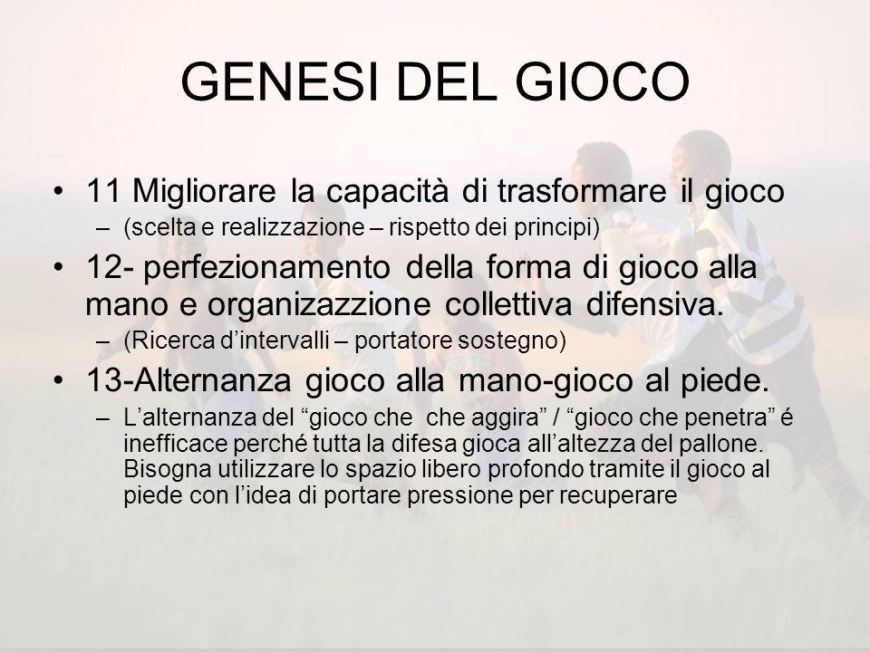 GENESI DEL GIOCO 11 Migliorare la capacità di trasformare il gioco