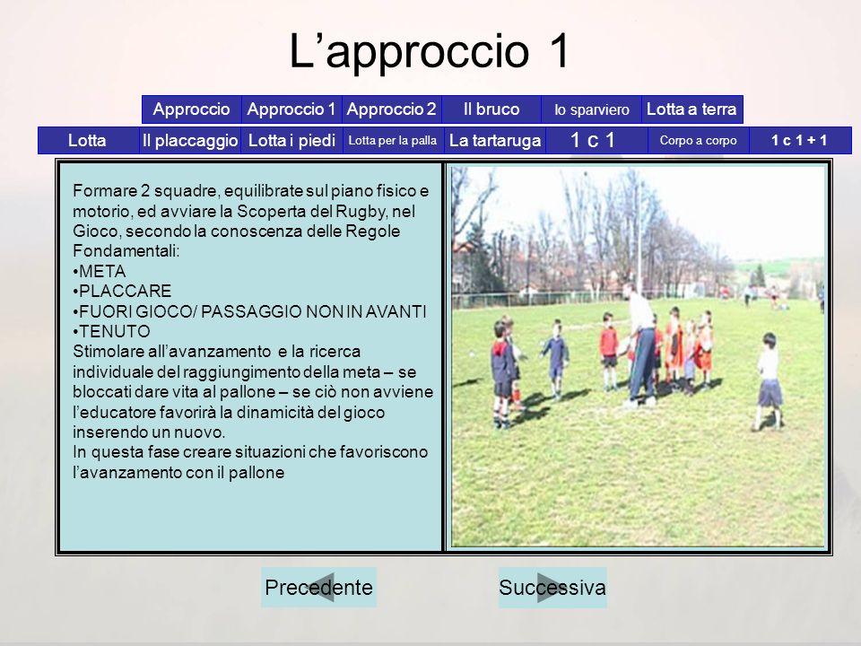 L'approccio 1 1 c 1 Precedente Successiva Approccio Approccio 1