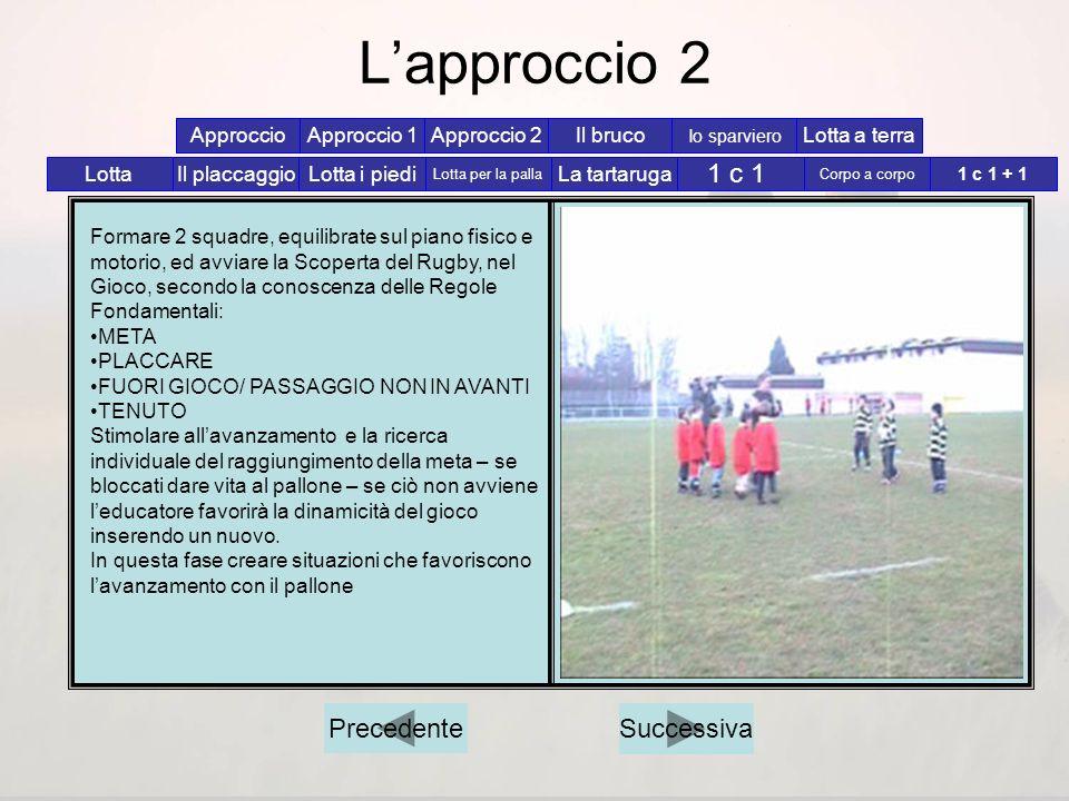 L'approccio 2 1 c 1 Precedente Successiva Approccio Approccio 1