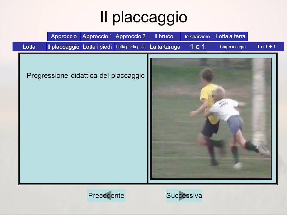 Il placcaggio 1 c 1 Progressione didattica del placcaggio Precedente