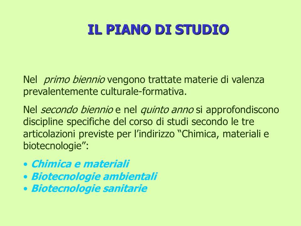 IL PIANO DI STUDIO Nel primo biennio vengono trattate materie di valenza prevalentemente culturale-formativa.