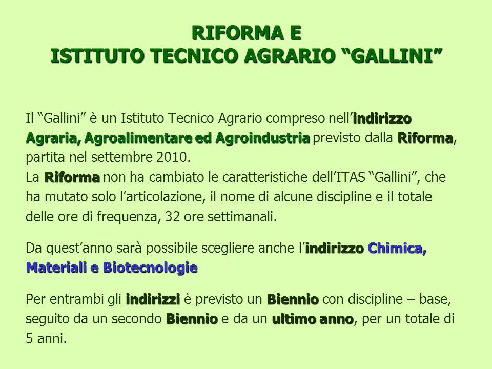 RIFORMA E ISTITUTO TECNICO AGRARIO GALLINI