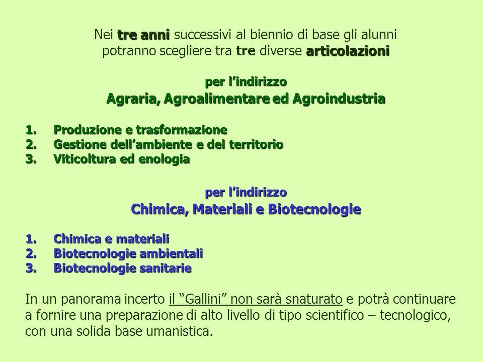 Chimica, Materiali e Biotecnologie