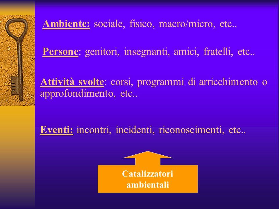 Ambiente: sociale, fisico, macro/micro, etc..