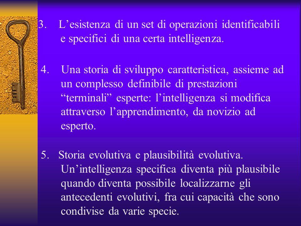 3. L'esistenza di un set di operazioni identificabili e specifici di una certa intelligenza.