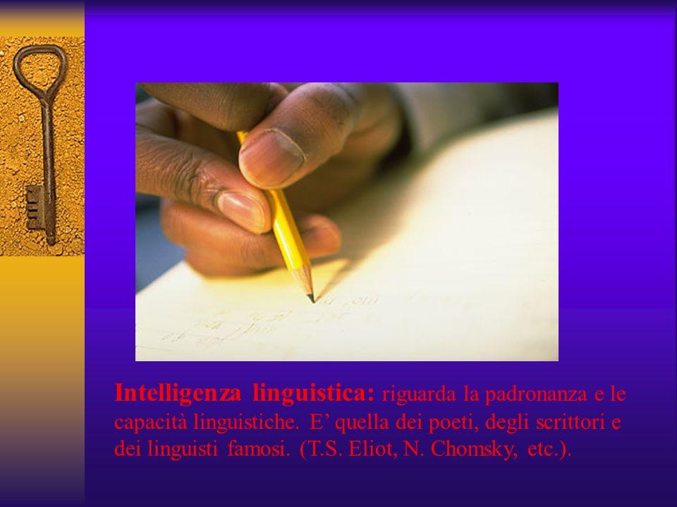 Intelligenza linguistica: riguarda la padronanza e le capacità linguistiche.