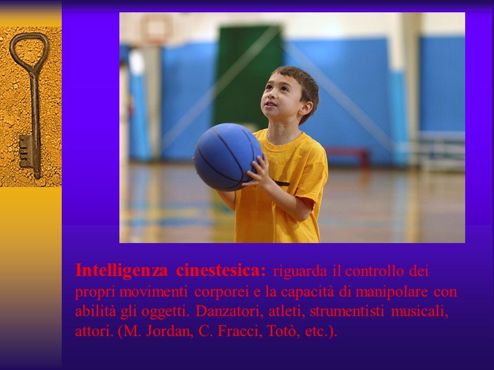 Intelligenza cinestesica: riguarda il controllo dei propri movimenti corporei e la capacità di manipolare con abilità gli oggetti.