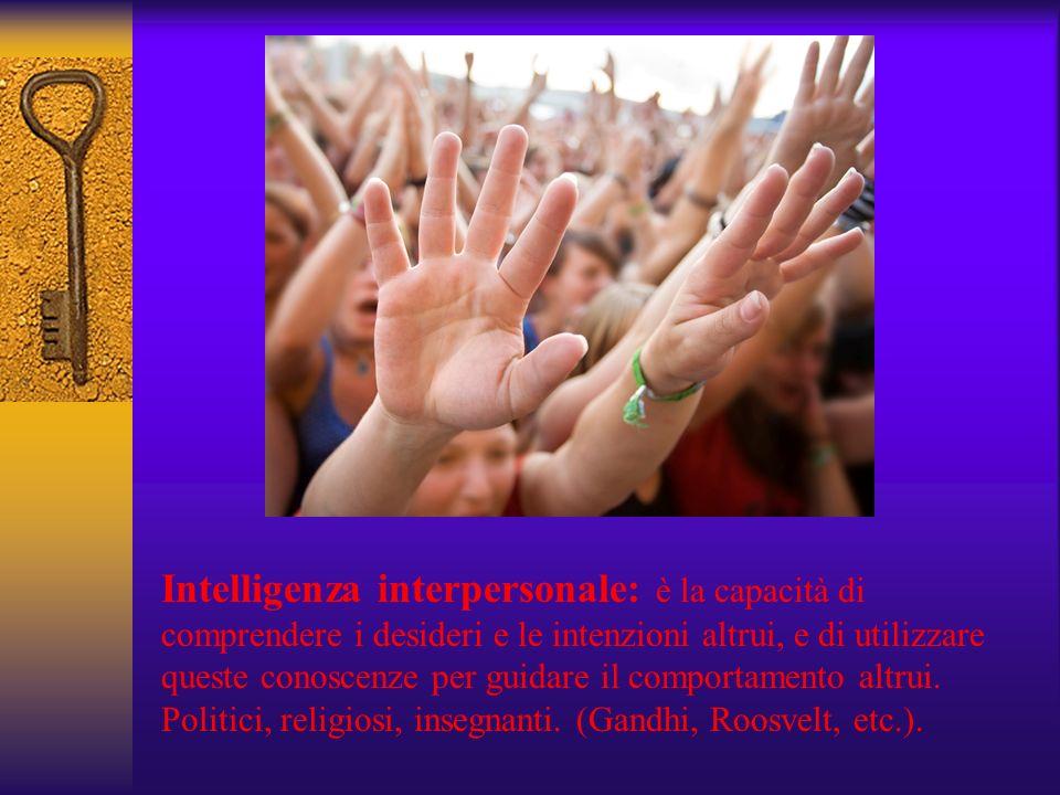 Intelligenza interpersonale: è la capacità di comprendere i desideri e le intenzioni altrui, e di utilizzare queste conoscenze per guidare il comportamento altrui.
