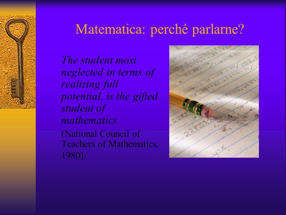 Matematica: perché parlarne