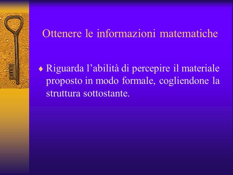 Ottenere le informazioni matematiche