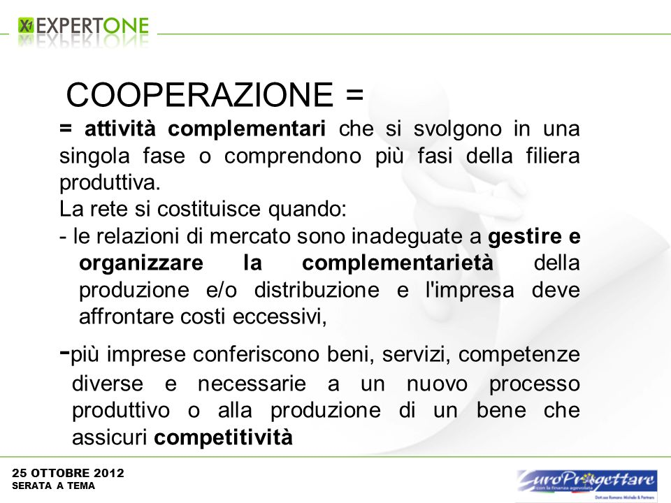 COOPERAZIONE = = attività complementari che si svolgono in una singola fase o comprendono più fasi della filiera produttiva.