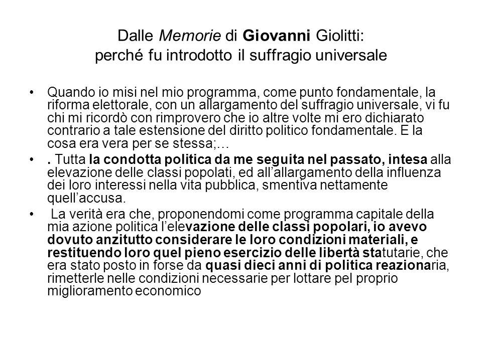 Dalle Memorie di Giovanni Giolitti: perché fu introdotto il suffragio universale