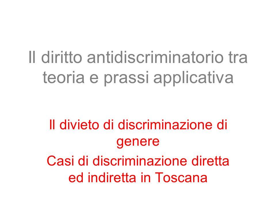 Il diritto antidiscriminatorio tra teoria e prassi applicativa