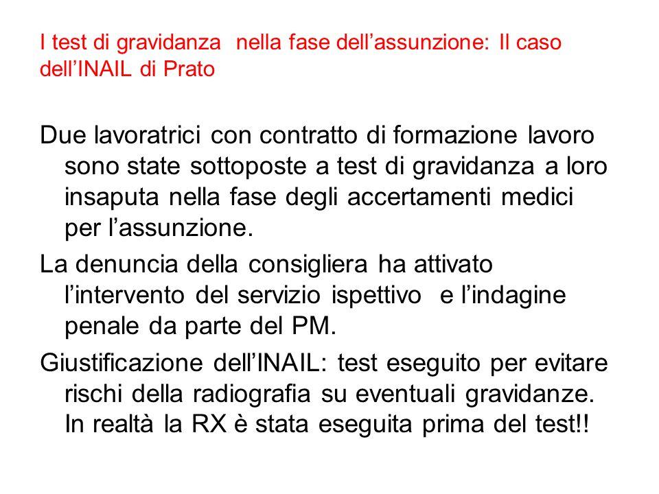 I test di gravidanza nella fase dell'assunzione: Il caso dell'INAIL di Prato