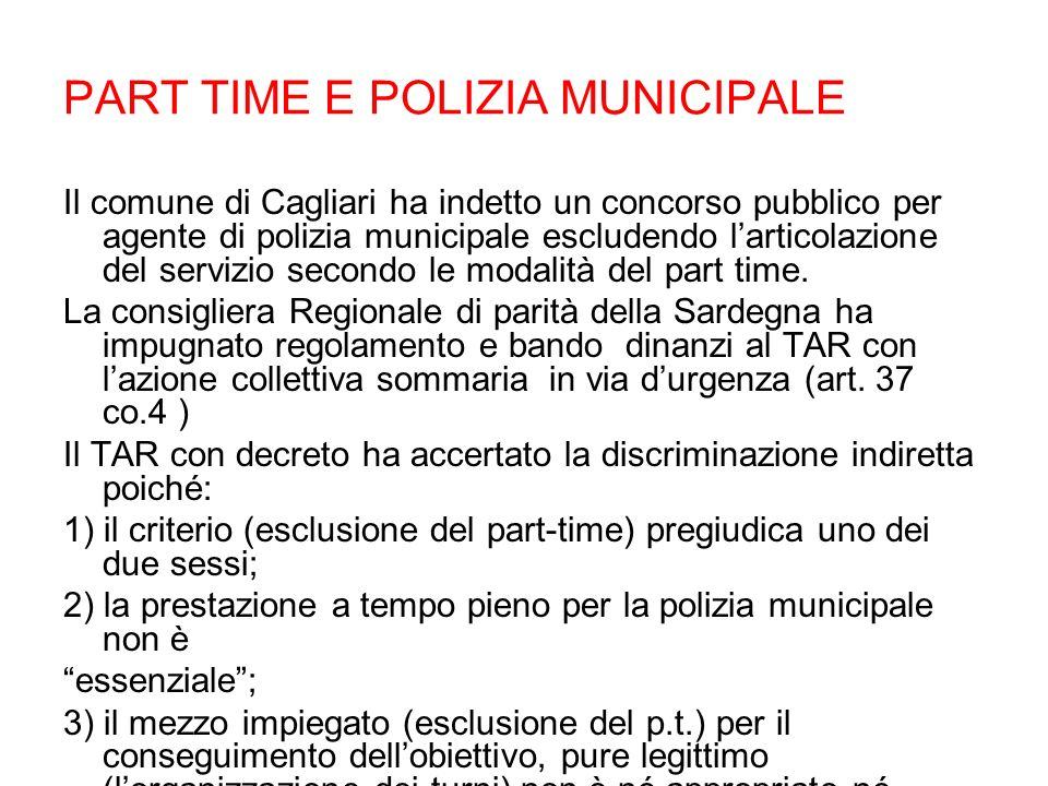 PART TIME E POLIZIA MUNICIPALE