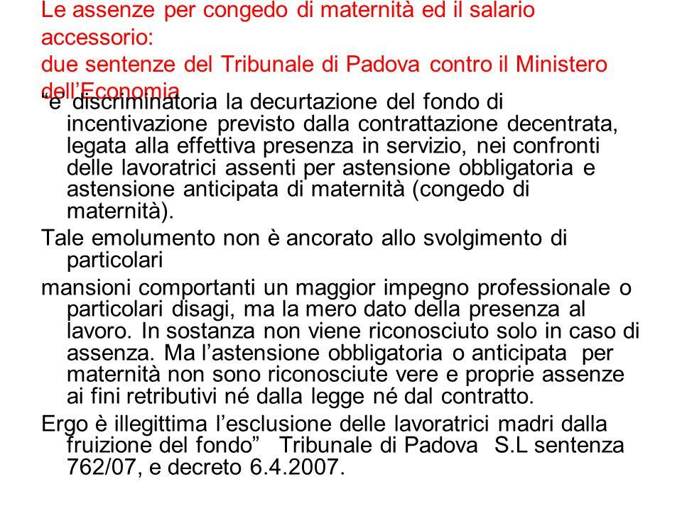 Le assenze per congedo di maternità ed il salario accessorio: due sentenze del Tribunale di Padova contro il Ministero dell'Economia