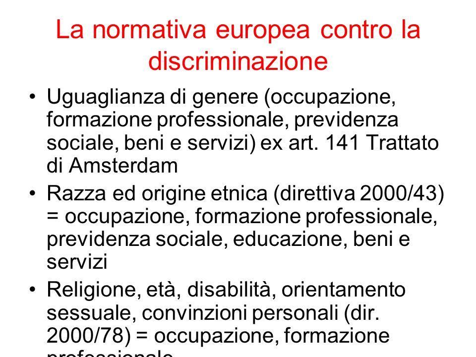 La normativa europea contro la discriminazione