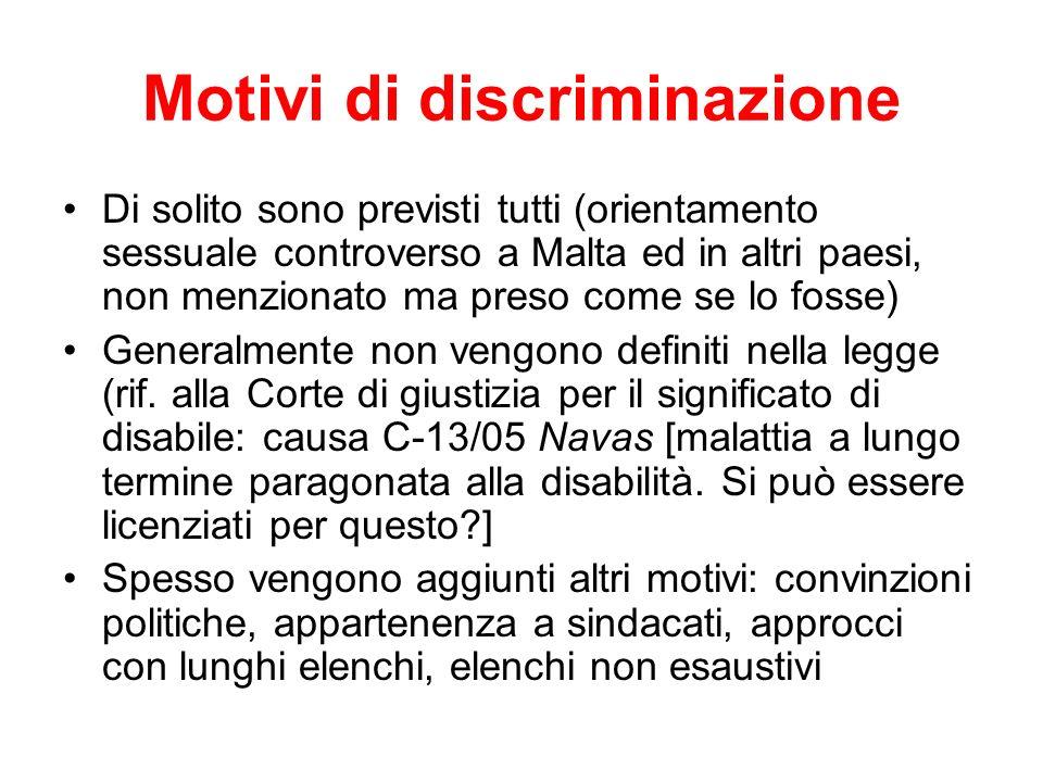Motivi di discriminazione