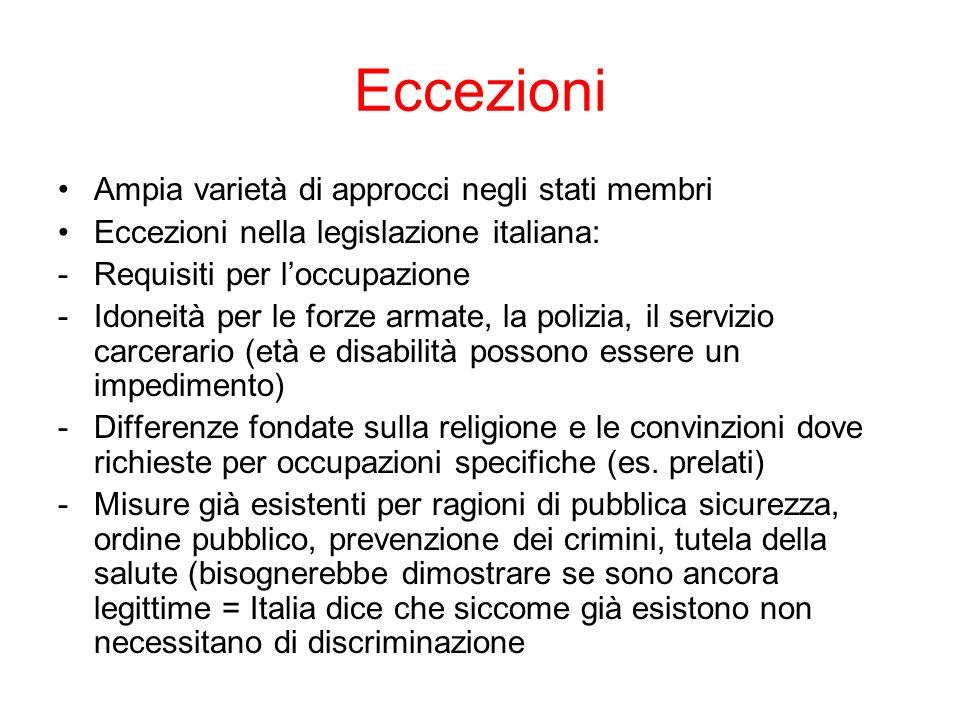 Eccezioni Ampia varietà di approcci negli stati membri