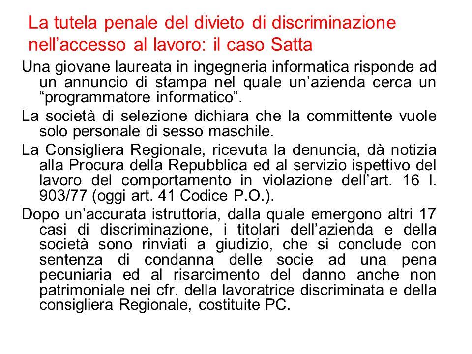 La tutela penale del divieto di discriminazione nell'accesso al lavoro: il caso Satta